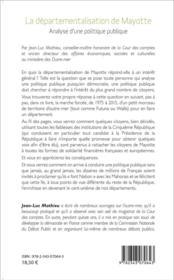 Départementalisation de Mayotte ; analyse d'une politque publique - 4ème de couverture - Format classique