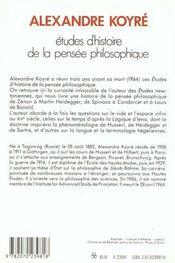 Etudes d'histoire de la pensee philosophique - 4ème de couverture - Format classique