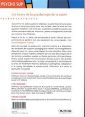 Les bases de la psychologie de la santé ; concepts, applications et perspectives - 4ème de couverture - Format classique