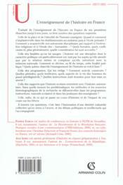 L'enseignement de l'histoire en France de l'ancien Régime à nos jours - 4ème de couverture - Format classique