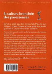 La culture branchée des paresseuses - 4ème de couverture - Format classique
