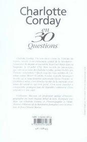 Charlotte corday en 30 questions - 4ème de couverture - Format classique