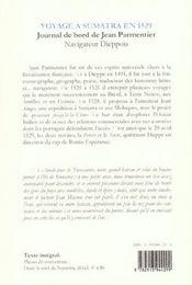 Voyage à Sumatra en 1529 ; journal de bord de Jean Parmentier - 4ème de couverture - Format classique