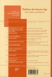 Théâtres du Moyen-âge ; textes, images et performances - 4ème de couverture - Format classique