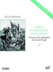 Forces et fragilités des normes ; principes de la philosophie du droit de Hegel - Couverture - Format classique