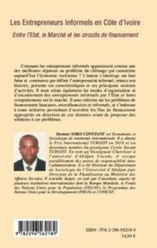 Les entrepreneurs informels en Côte d'Ivoire ; entre l'Etat le marché et les circuits de financement - 4ème de couverture - Format classique