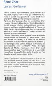 René Char - 4ème de couverture - Format classique