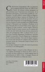 Dictionnaire des sculpteurs néo-baroques français (1870-1914) - 4ème de couverture - Format classique