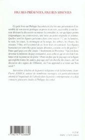 Pour Lire Philippe Jaccottet ; Figures Presentes, Figures Absentes - 4ème de couverture - Format classique