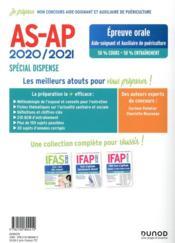 Je prépare ; AS-AP ; concours aide-soignant et auxiliaire de puériculture ; épreuve orale ; spécial dispense (édition 2020/2021) - 4ème de couverture - Format classique