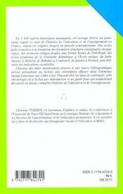 Chronologie de l'enseignement et de l'education en france ; des origines a nos jours - 4ème de couverture - Format classique