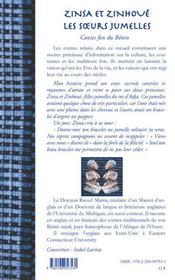 Zinsa et Zinhoue ; les soeurs jumelles ; contes fon du Bénin - 4ème de couverture - Format classique