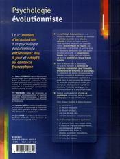 Psychologie évolutionniste - 4ème de couverture - Format classique