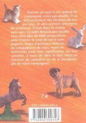 Dictionnaire insolite ; 6000 noms pour vos animaux de compagnie - 4ème de couverture - Format classique