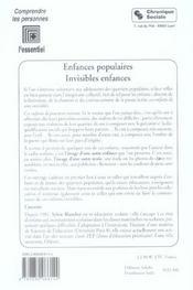 Enfances Populaires, Invisibles Enfances - 4ème de couverture - Format classique