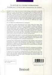 La rupture du contrat international - 4ème de couverture - Format classique