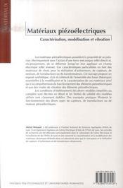 Matériaux piézoélectriques ; caractérisation, modélisation et vibration - 4ème de couverture - Format classique