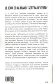 Le jour où la France sortira de l'euro - 4ème de couverture - Format classique