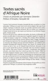 Textes sacrés d'Afrique noire - 4ème de couverture - Format classique