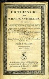 Dictionnaire des Sciences Naturelles. TOME XII : Crit - Daz. - Couverture - Format classique