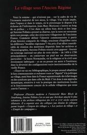Le village sous l'Ancien Régime - 4ème de couverture - Format classique