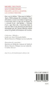 Souvenirs épars ; Philippe Lacoue-Labarthe, les années théâtre - 4ème de couverture - Format classique