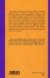 Histoire du droit des biens - 4ème de couverture - Format classique