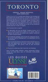 Guide Ulysee ; Toronto ; 2e Edition - 4ème de couverture - Format classique