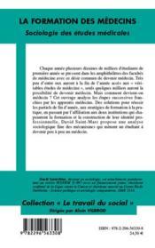 La formation des médecins ; sociologie des études médicales - 4ème de couverture - Format classique