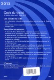 Code du travail (édition 2013) - 4ème de couverture - Format classique