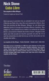 Cuba libre - 4ème de couverture - Format classique