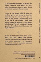 Lettre à un ami heureux aux enfers - 4ème de couverture - Format classique