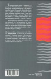 La relation éducative ; un outil professionnel pour un projet humaniste - 4ème de couverture - Format classique