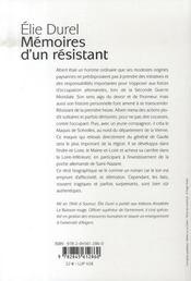 Mémoires d'un résistant - 4ème de couverture - Format classique