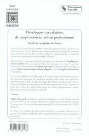 Développer des relations de coopération en milieu professionnel ; sortir des rapports de forces - 4ème de couverture - Format classique