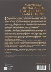 Nouvelles dramaturgies d'afrique noire francophone - 4ème de couverture - Format classique