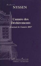 L'année des déchirements ; journal de l'année 2007 - Couverture - Format classique