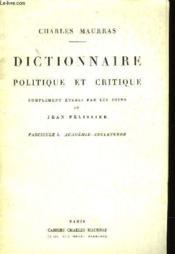 Dictionnaire Politique Et Critique - Supplement Au Cahier Charles Maurras N°2 - Septembre 1980 - Couverture - Format classique