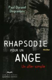 Rhapsodie pour un ange - Couverture - Format classique