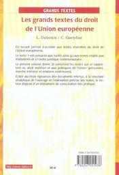 Les grands textes du droit de l'union européenne t.2 ; droit matériel (6e édition) (6e édition) - 4ème de couverture - Format classique