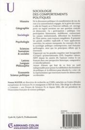 Sociologie des comportements politiques - 4ème de couverture - Format classique