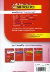 Dictionnaire des difficultés - 4ème de couverture - Format classique