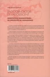 Endocrinologie de l'adolescent t.2 ; orientations diagnostiques ; les spécificités de l'adolescence - 4ème de couverture - Format classique