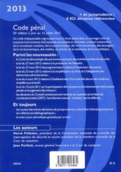 Code pénal (édition 2013) - 4ème de couverture - Format classique
