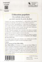 L'éducation populaire ; une méthode, douze entrées pour tenir ouvertes les portes du futur - 4ème de couverture - Format classique
