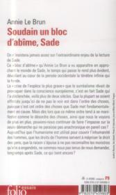 Soudain un bloc d'abîme, Sade - 4ème de couverture - Format classique