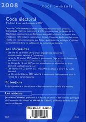 Code electoral 2008 - 4ème de couverture - Format classique
