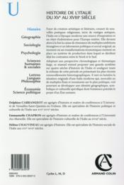 Histoire de l'Italie du XVe au XVIIIe siècle - 4ème de couverture - Format classique