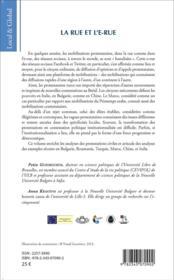 Rue et l'e rue; nouvelles contestations citoyennes - 4ème de couverture - Format classique