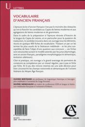 Vocabulaire d'ancien français (3e édition) - 4ème de couverture - Format classique